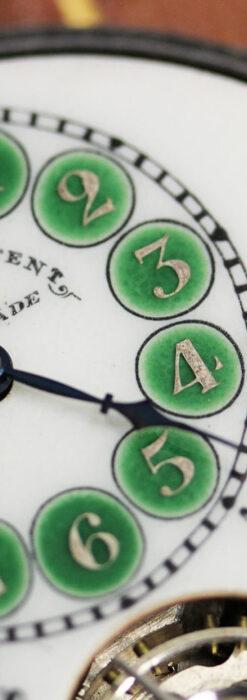 ヘブドマス 緑のエナメル装飾が美しい8日巻懐中時計 【1940年頃】-P2305-2