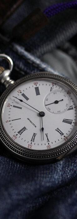 心地よいサイズの中型 ウォルサムの銀無垢時計 【1904年頃】-P2306-1