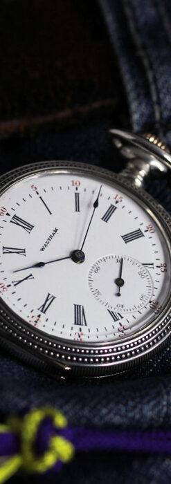 心地よいサイズの中型 ウォルサムの銀無垢時計 【1904年頃】-P2306-2