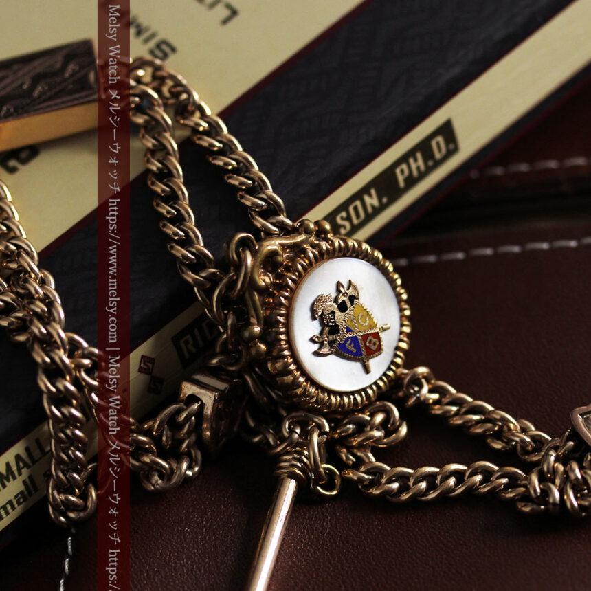 立体的な騎士と盾の飾り付きアンティーク懐中時計チェーン-C0495-1