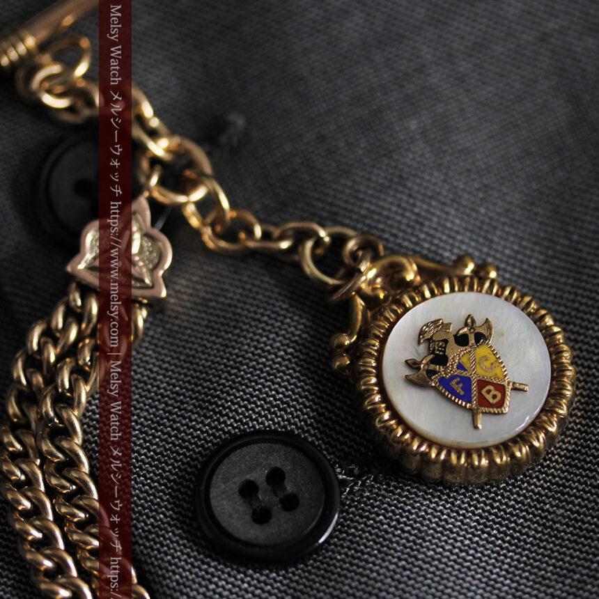 立体的な騎士と盾の飾り付きアンティーク懐中時計チェーン-C0495-10