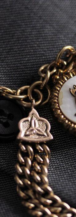 立体的な騎士と盾の飾り付きアンティーク懐中時計チェーン-C0495-11