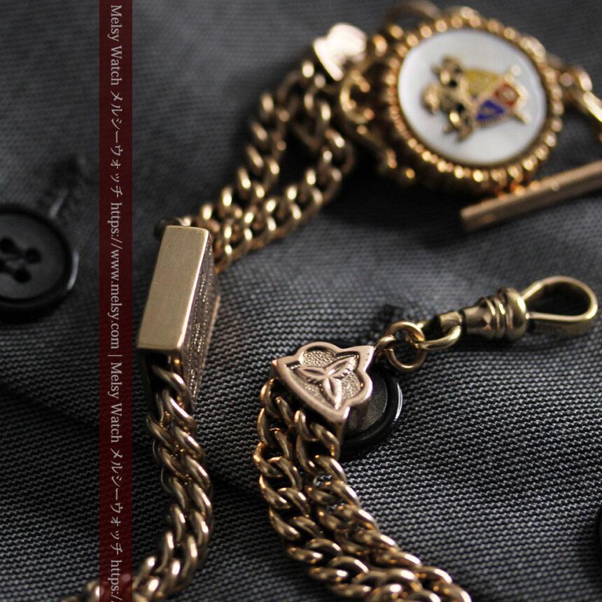 立体的な騎士と盾の飾り付きアンティーク懐中時計チェーン-C0495-13