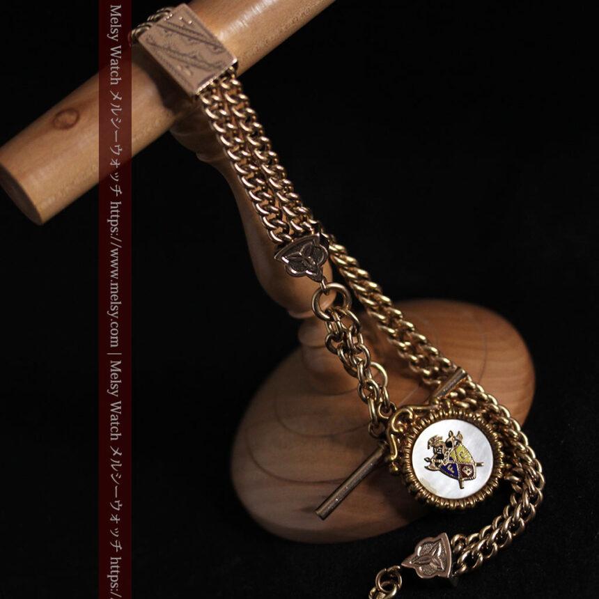 立体的な騎士と盾の飾り付きアンティーク懐中時計チェーン-C0495-14