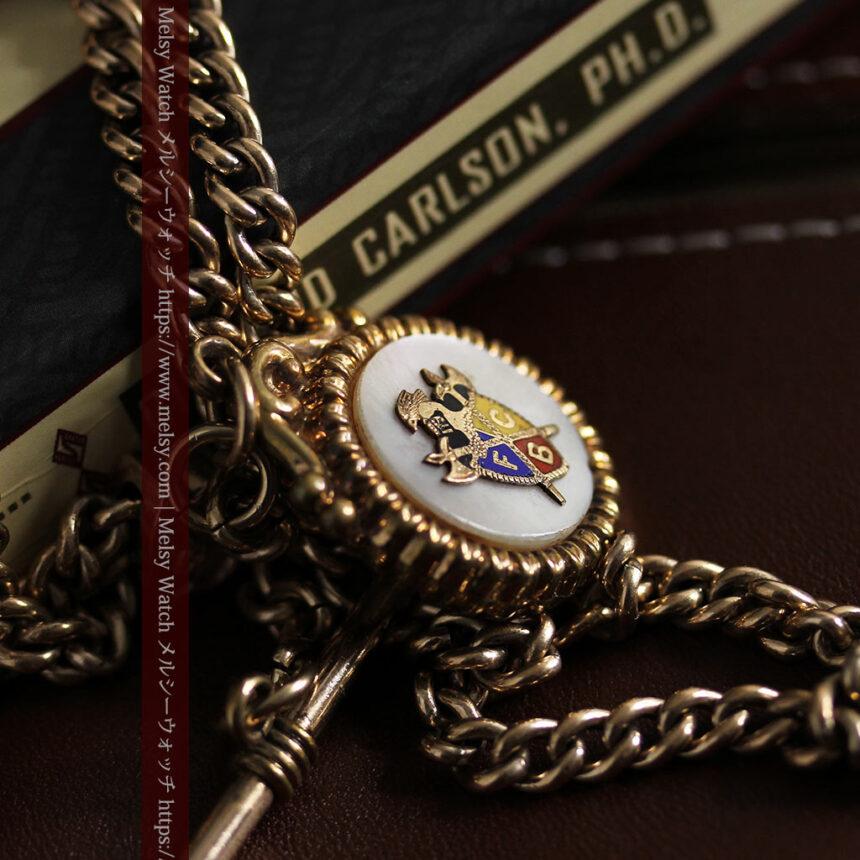 立体的な騎士と盾の飾り付きアンティーク懐中時計チェーン-C0495-2