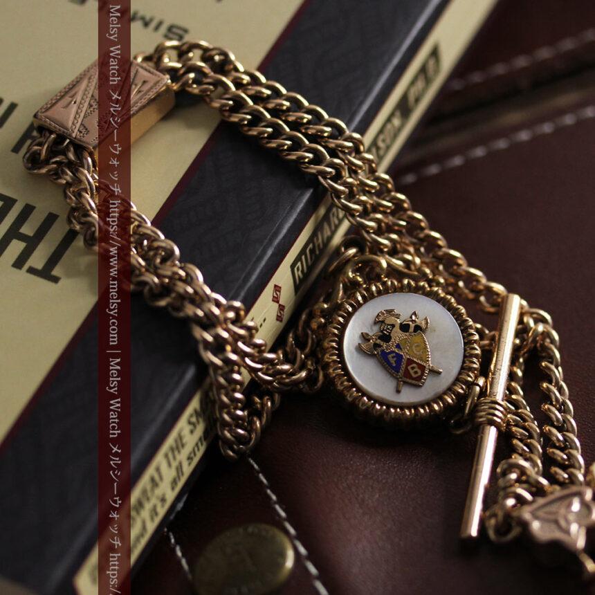 立体的な騎士と盾の飾り付きアンティーク懐中時計チェーン-C0495-3