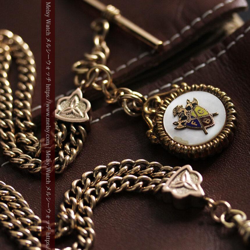 立体的な騎士と盾の飾り付きアンティーク懐中時計チェーン-C0495-5