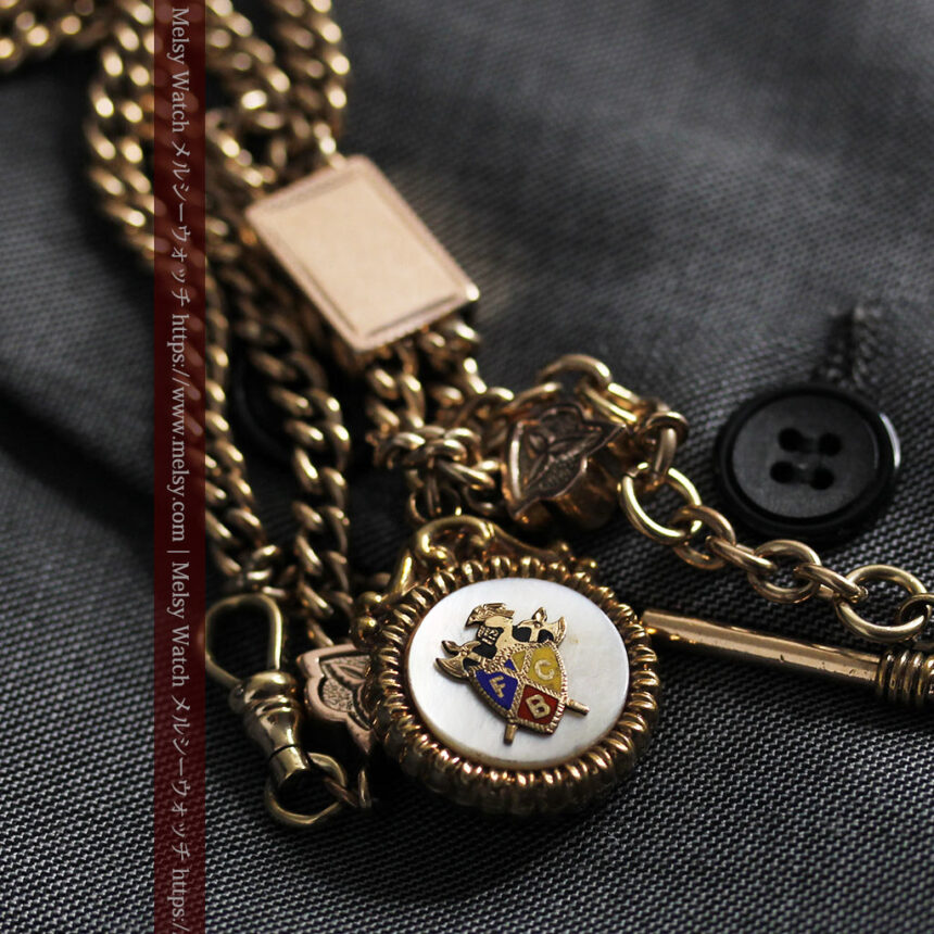 立体的な騎士と盾の飾り付きアンティーク懐中時計チェーン-C0495-7