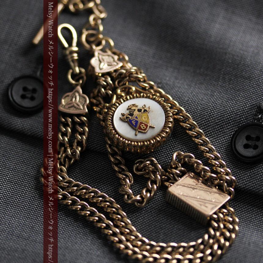 立体的な騎士と盾の飾り付きアンティーク懐中時計チェーン-C0495-8