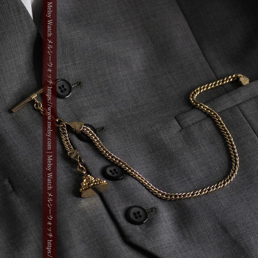 アンティーク懐中時計チェーン・鎖 【封蝋飾り付き】-C0496-6
