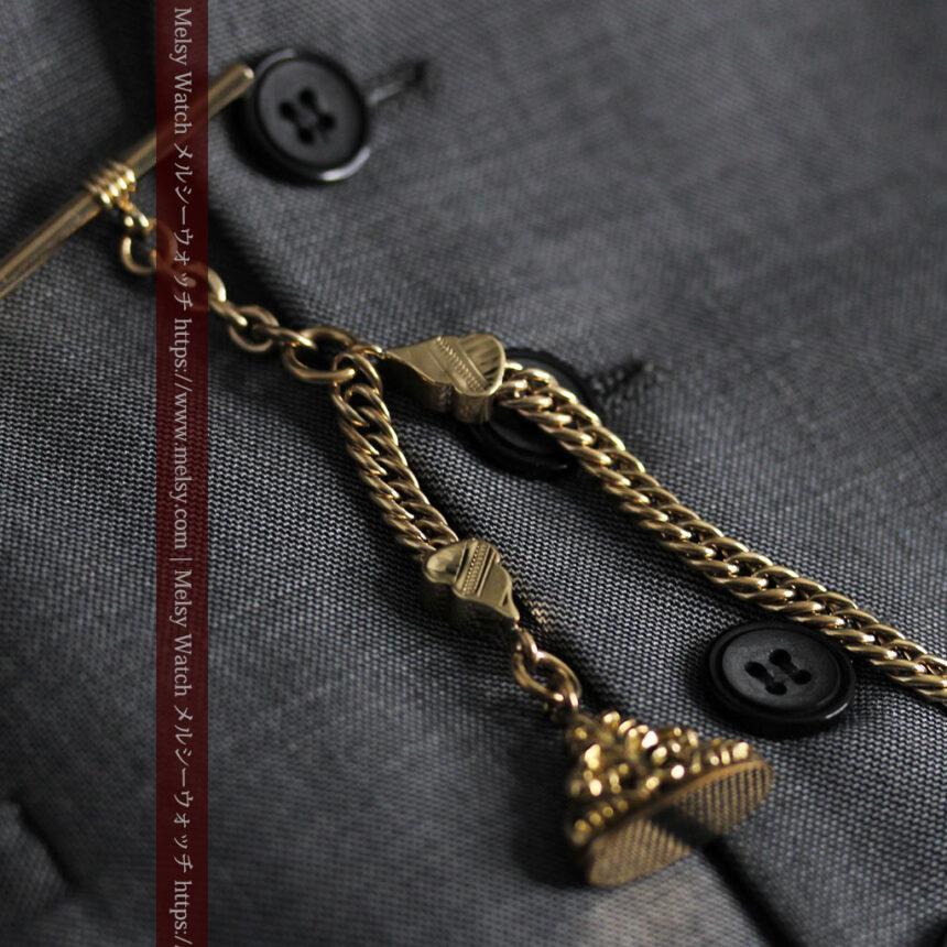 アンティーク懐中時計チェーン・鎖 【封蝋飾り付き】-C0496-7