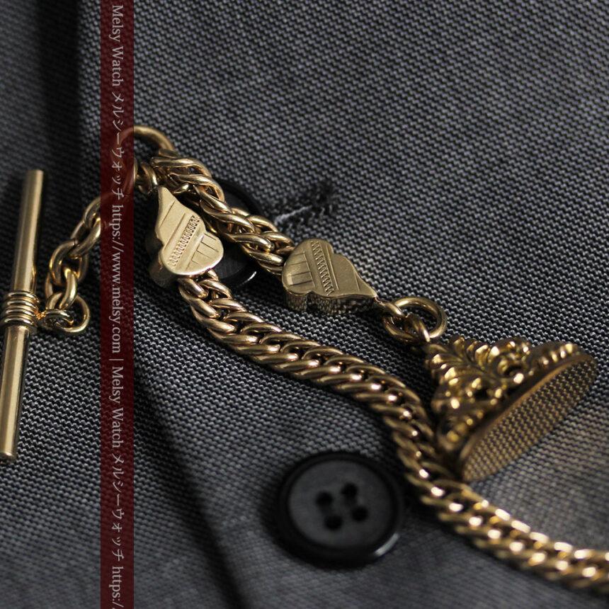 アンティーク懐中時計チェーン・鎖 【封蝋飾り付き】-C0496-9