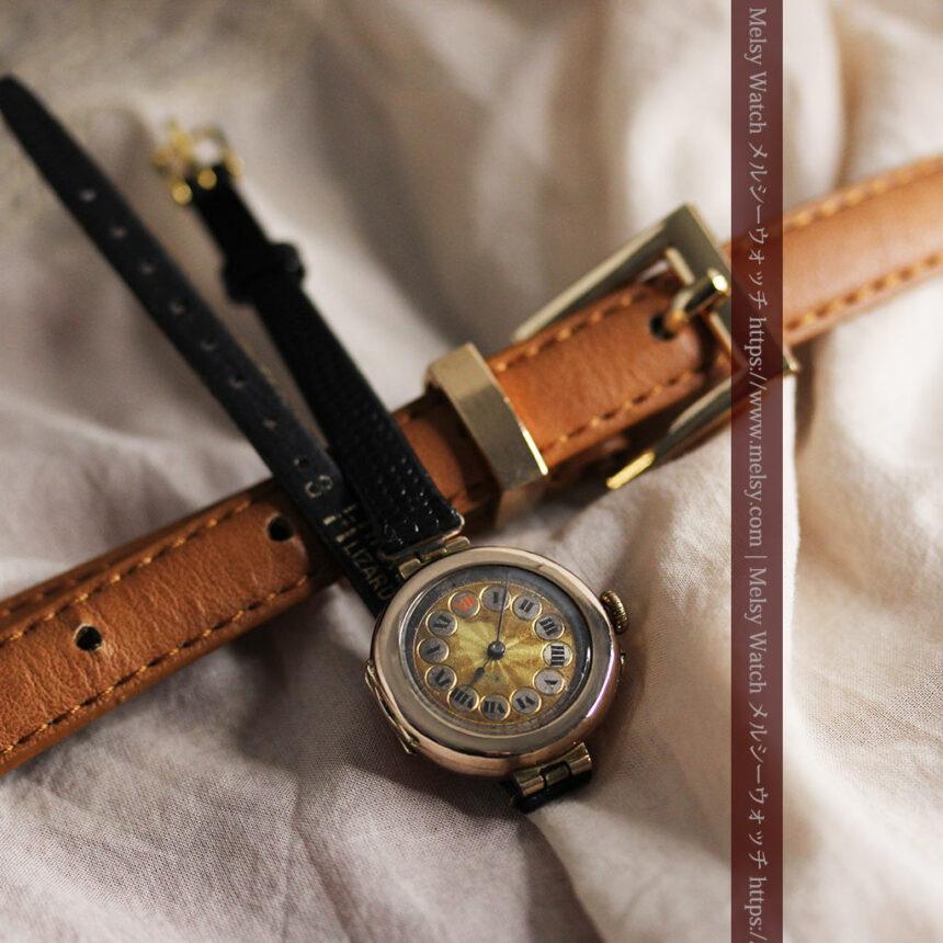 スイス製テレフォンダイアル金無垢アンティーク腕時計 【1910年頃】-W1174-1