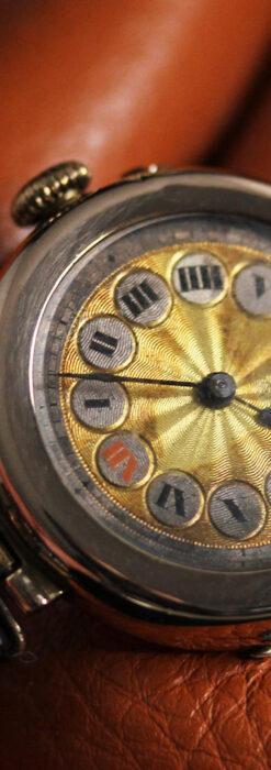 スイス製テレフォンダイアル金無垢アンティーク腕時計 【1910年頃】-W1174-10