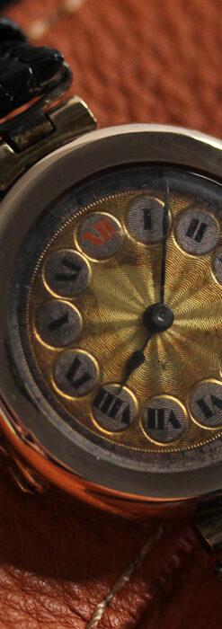 スイス製テレフォンダイアル金無垢アンティーク腕時計 【1910年頃】-W1174-11