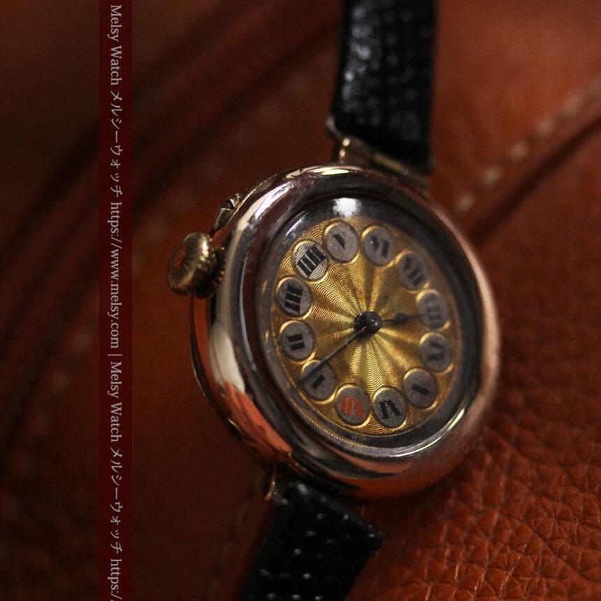 スイス製テレフォンダイアル金無垢アンティーク腕時計 【1910年頃】-W1174-12