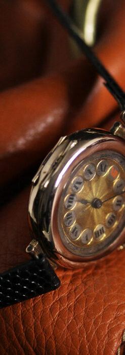 スイス製テレフォンダイアル金無垢アンティーク腕時計 【1910年頃】-W1174-13