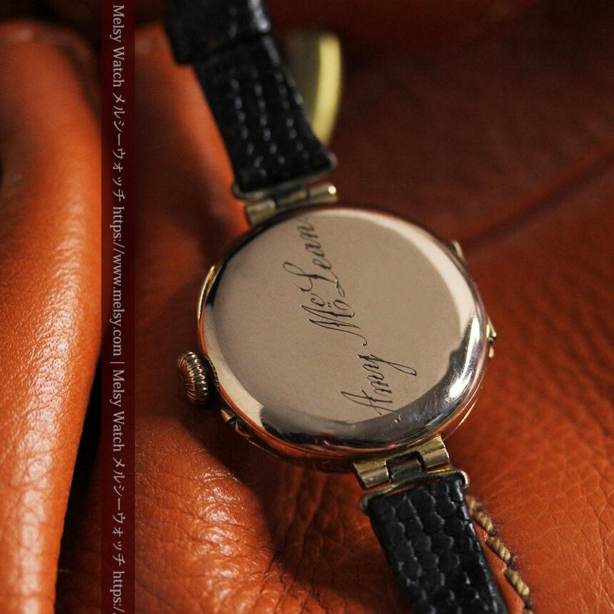 スイス製テレフォンダイアル金無垢アンティーク腕時計 【1910年頃】-W1174-15