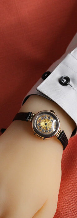 スイス製テレフォンダイアル金無垢アンティーク腕時計 【1910年頃】-W1174-18