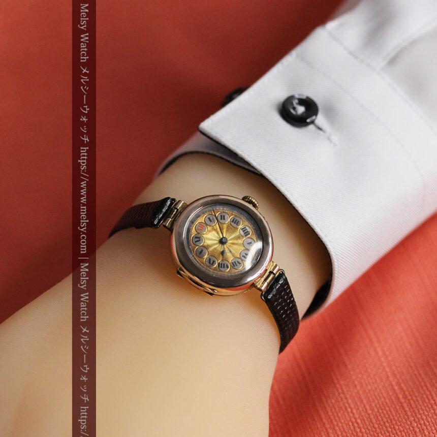 スイス製テレフォンダイアル金無垢アンティーク腕時計 【1910年頃】-W1174-19