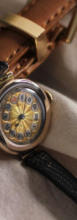 スイス製テレフォンダイアル金無垢アンティーク腕時計 【1910年頃】-W1174-2