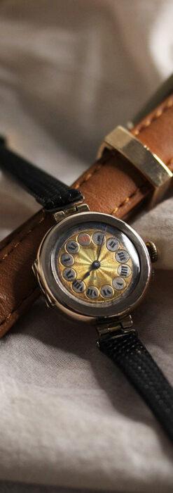 スイス製テレフォンダイアル金無垢アンティーク腕時計 【1910年頃】-W1174-3