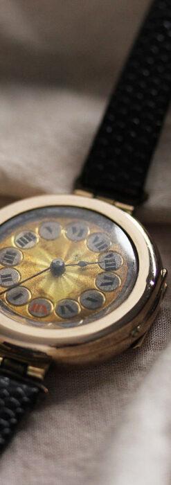 スイス製テレフォンダイアル金無垢アンティーク腕時計 【1910年頃】-W1174-4