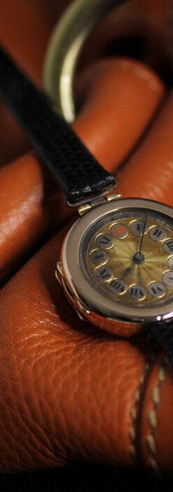 スイス製テレフォンダイアル金無垢アンティーク腕時計 【1910年頃】-W1174-5