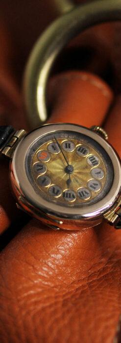 スイス製テレフォンダイアル金無垢アンティーク腕時計 【1910年頃】-W1174-6