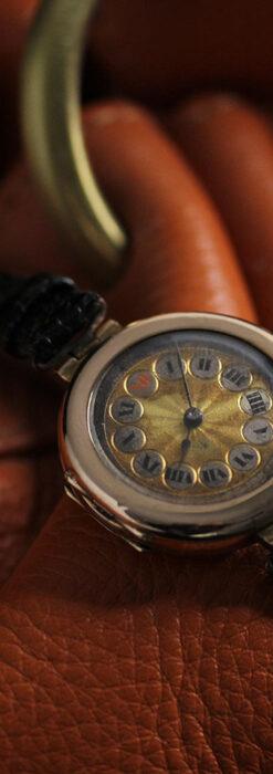 スイス製テレフォンダイアル金無垢アンティーク腕時計 【1910年頃】-W1174-7