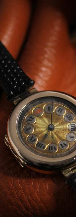 スイス製テレフォンダイアル金無垢アンティーク腕時計 【1910年頃】-W1174-8