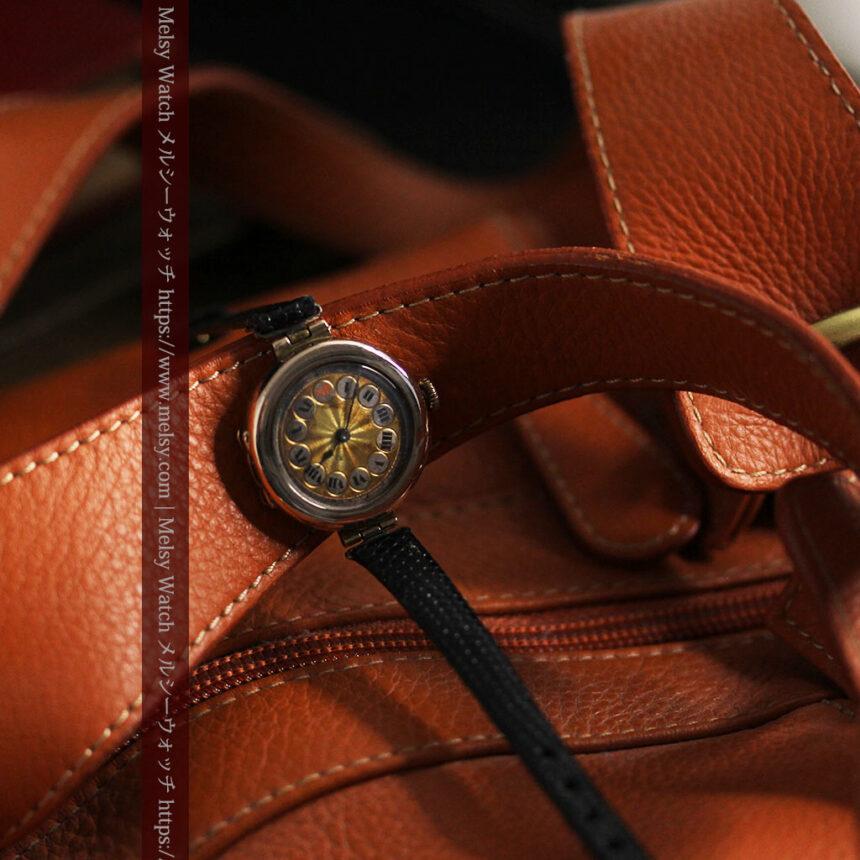 スイス製テレフォンダイアル金無垢アンティーク腕時計 【1910年頃】-W1174-9