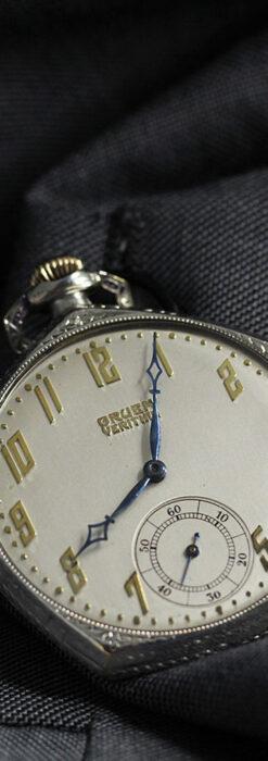 特殊な五角形 グリュエンのアンティーク懐中時計 【1930年頃】-P2307-2