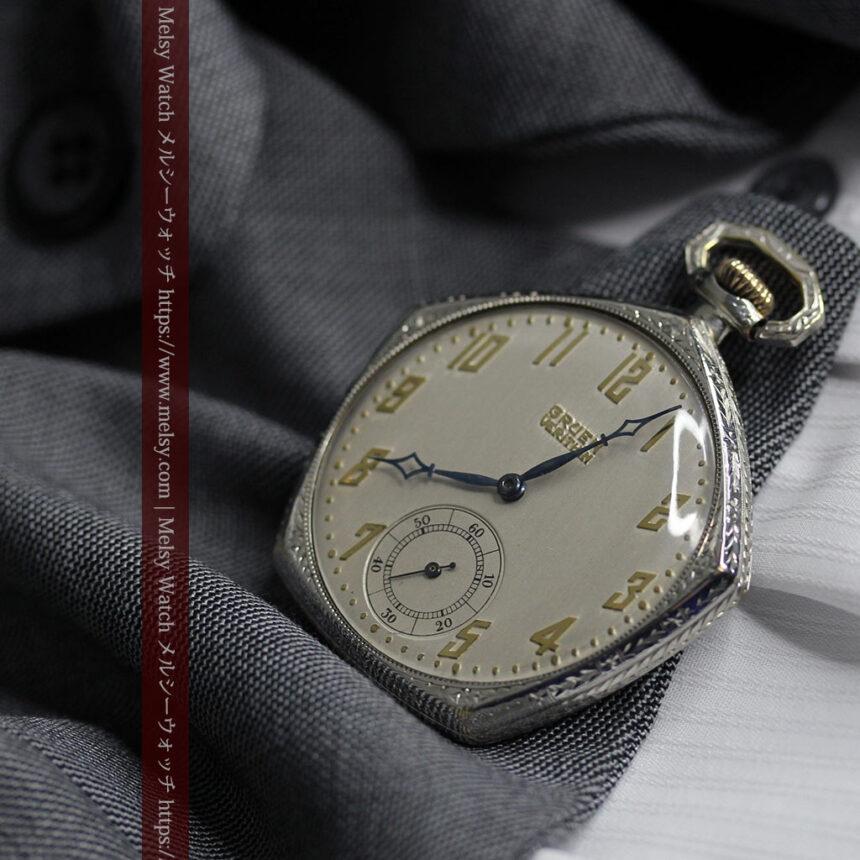 特殊な五角形 グリュエンのアンティーク懐中時計 【1930年頃】-P2307-4