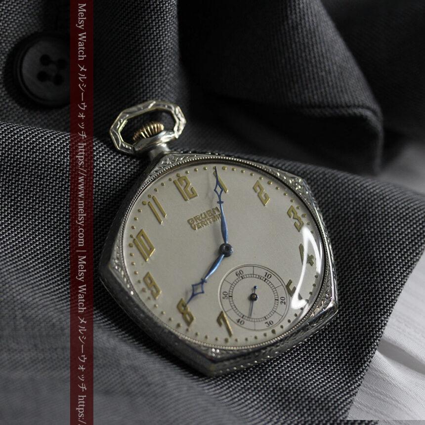 特殊な五角形 グリュエンのアンティーク懐中時計 【1930年頃】-P2307-5