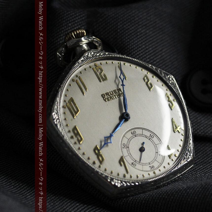 特殊な五角形 グリュエンのアンティーク懐中時計 【1930年頃】-P2307-6