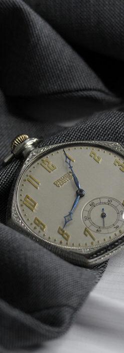特殊な五角形 グリュエンのアンティーク懐中時計 【1930年頃】-P2307-7