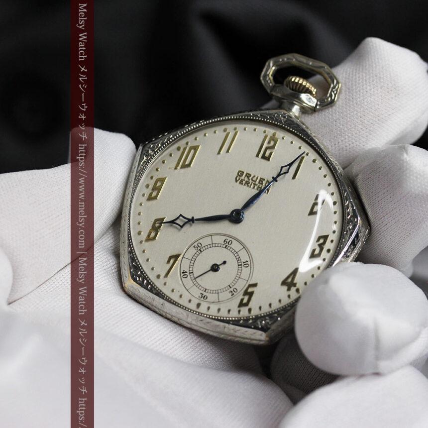 特殊な五角形 グリュエンのアンティーク懐中時計 【1930年頃】-P2307-8