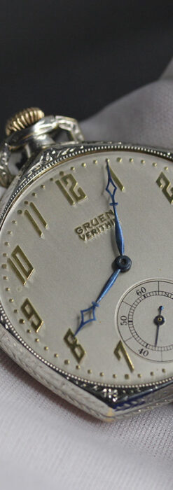 特殊な五角形 グリュエンのアンティーク懐中時計 【1930年頃】-P2307-9