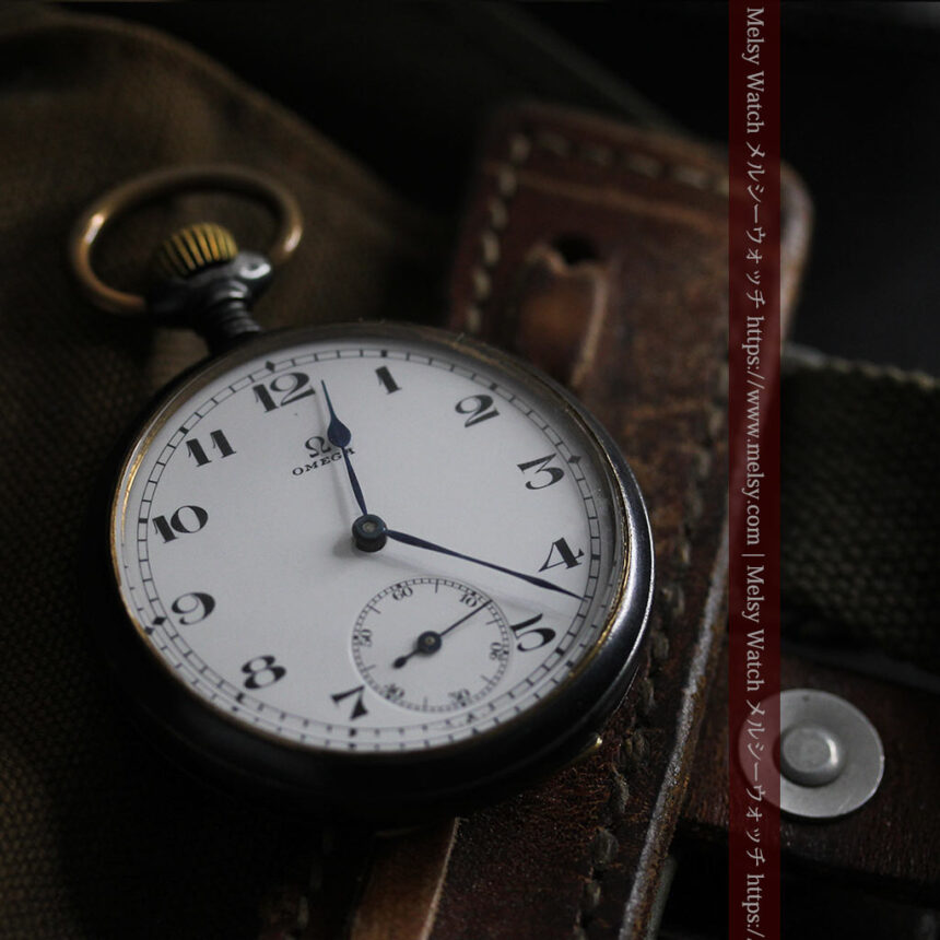 黒色に映える銀の紋章 オメガのアンティーク懐中時計 【1899年製】-P2308-12