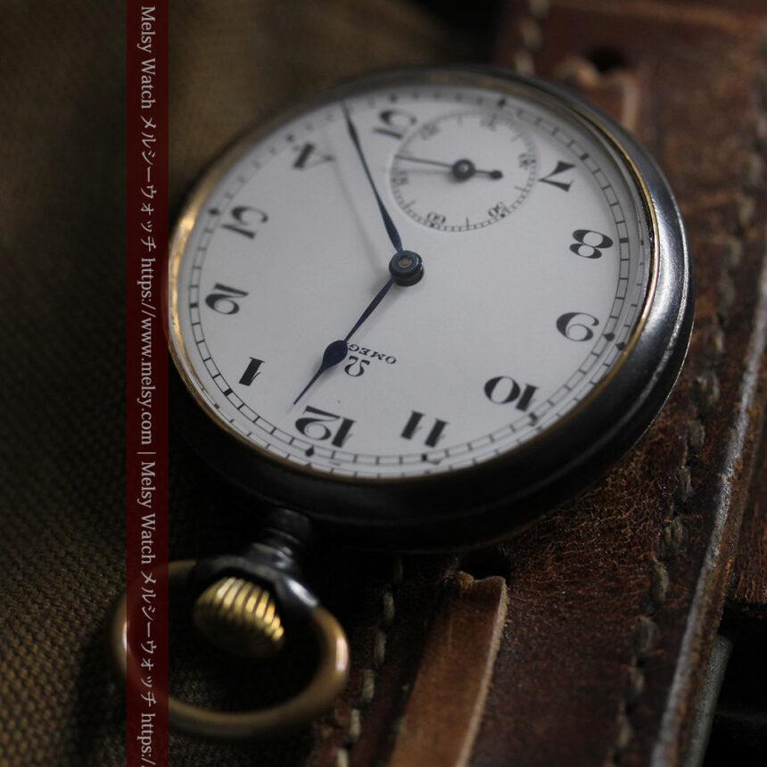 黒色に映える銀の紋章 オメガのアンティーク懐中時計 【1899年製】-P2308-13