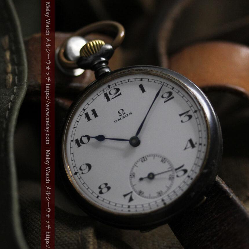 黒色に映える銀の紋章 オメガのアンティーク懐中時計 【1899年製】-P2308-16