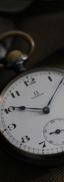 黒色に映える銀の紋章 オメガのアンティーク懐中時計 【1899年製】-P2308-17