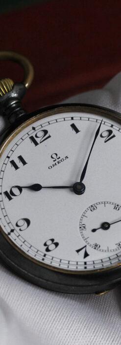 黒色に映える銀の紋章 オメガのアンティーク懐中時計 【1899年製】-P2308-19