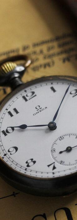 黒色に映える銀の紋章 オメガのアンティーク懐中時計 【1899年製】-P2308-3