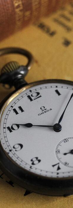 黒色に映える銀の紋章 オメガのアンティーク懐中時計 【1899年製】-P2308-4