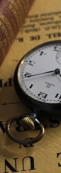 黒色に映える銀の紋章 オメガのアンティーク懐中時計 【1899年製】-P2308-5