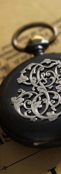 黒色に映える銀の紋章 オメガのアンティーク懐中時計 【1899年製】-P2308-6