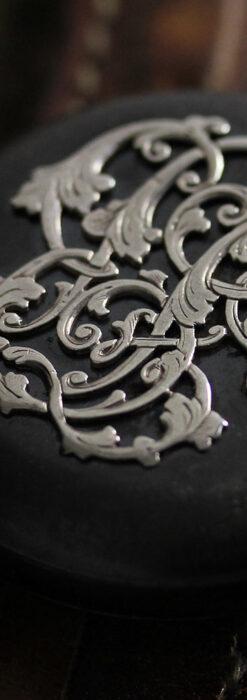 黒色に映える銀の紋章 オメガのアンティーク懐中時計 【1899年製】-P2308-8