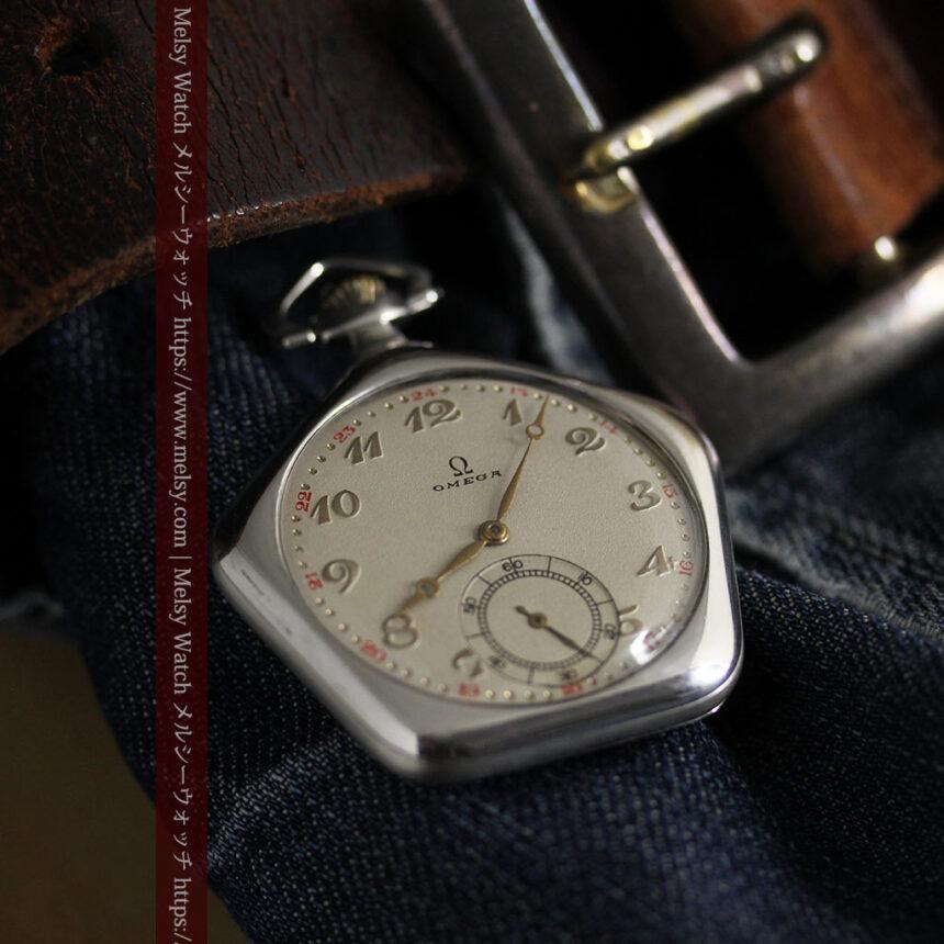 珍しく希少なオメガの五角形の銀無垢時計 【1904年製】-P2309-10